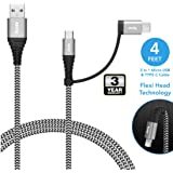 Dyazo 4 ft / 1.2 m 2 in 1 Cable [ Micro USB & Type C ] Nylon Braided Fast Charging with Flexi Head Technology Compatible with