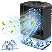 HAMIIS Climatiseur Portable, 4 en 1 Ventilateur, Personnel Refroidisseur d'air, Humidificateur, Veilleuse LED, Minuterie…