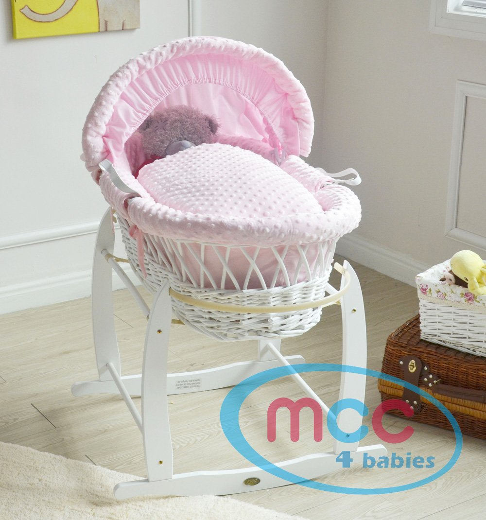 MCC Full Set Deluxe Palm Wicker Moses Basket with Dressing & Rocking Stand (Wicker, Pink) MCC Classic moses basket with matching handles and a thicker padding on the inside. Hand woven Space-Tec Padding Quilted Hypo-Allergenic Feet to Foot mattress from Genuine UK manufacturer (BS 7177:2008 low hazard domestic use). Superb quality dressing made from Genuine UK manufacturer. 2