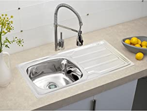 Klaxon Single Bowl 202 Grade Stainless Steel Sink with Glossy Finish and Drainboard for Kitchen, 37x18x7.5 Inches (Silver)