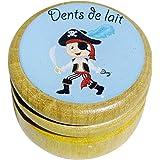 Boîte boite à dents de lait en bois pour en différents modèles pour garçons et filles avec couvercle à vis de 44 mm (Pirate)