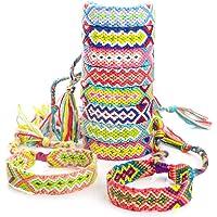 RUBY - 10 Bracelets de fil tressé multicolore réglable à la main Bracelet d'amitié tissé Bracelet d'été de style Boho
