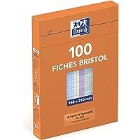 Oxford 100104451 Fiche bristol perforée - 148 x 210 mm - Pack de 100 fiches - Coloris assortis