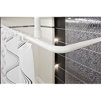 Tropik Home Shower Curtain Rail Rod 4 Way Use L Or U Shape With Ceiling Mount And Semi Open Ring White
