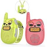 QNIGLO Q136 Walkie Talkie Niños Recargable,Radio FM 2 Km Alcance Ojos LED Parpadeantes Correa Portátil de Reloj,Montar en Bic