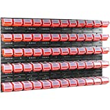 Lot de 60 boîtes de rangement empilables avec couvercle et étagère murale Rouge 120 x 80 cm