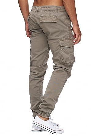 MEGASTYL Herren Cargo Jeans Hose Olivgrün Elastischer Bund , Farbe:Beige,  Größe: