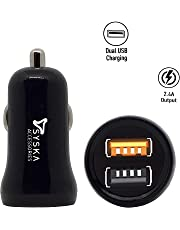 Syska Atom Fast Dual Car Charger for All Smartphones & Tablets + Free Micro USB Cable (Black & White)