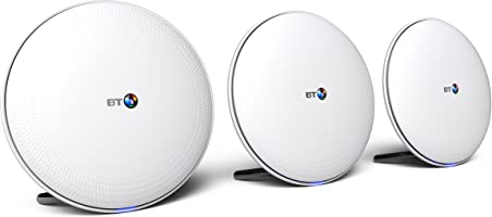 BT Whole Home Wi-Fi, Pack of 3 Discs, Mesh Wi-Fi for seamless, speedy (AC2600) connection, Wi-Fi everywhere in medium to large homes, App for complete control and 2 year warranty