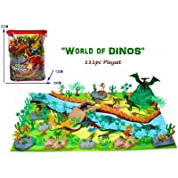Vibgyor Vibes 111 Pieces Pre Historic Dinosaurs Animals Figures Set for Kids/Young with Camouflage Play Mat (Multicolor)