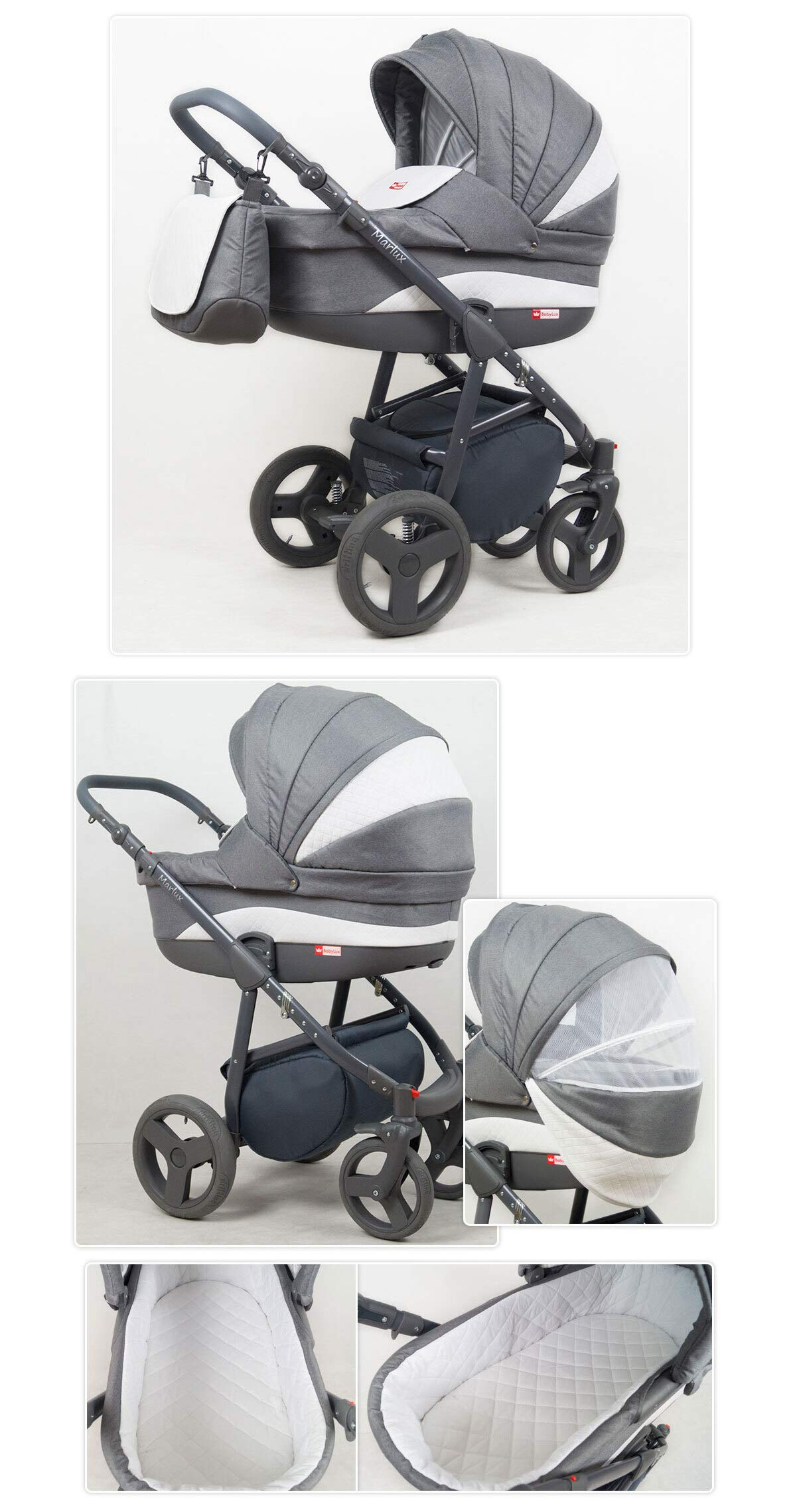 Travel System Stroller Pram Pushchair 2in1 3in1 Set Isofix Marley by SaintBaby Plum 2in1 Without Baby seat SaintBaby 3in1 or 2in1 Selectable. At 3in1 you will also receive the car seat (baby seat). Of course you get the baby tub (classic pram) as well as the buggy attachment (sports seat) no matter if 2in1 or 3in1. The car naturally complies with the EU safety standard EN1888. During production and before shipment, each wagon is carefully inspected so that you can be sure you have one of the best wagons. Saintbaby stands for all-in-one carefree packages, so you will also receive a diaper bag in the same colour as the car as well as rain and insect protection free of charge. With all the colours of this pram you will find the pram of your dreams. 4