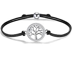J.Endéar Arbre de Vie Bracelet Carte du Monde Femme, 925 Argent Zircone Bracelets Femmes, 24cm Taille Réglable