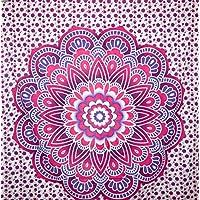 kesrie Wall Hanging Tapestry Grande Mandala Lotus Stampa Blu