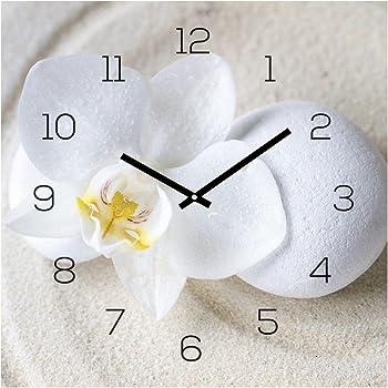 """DEKOGLAS Glasuhr /""""Orchidee weiß/"""" 30x30 eckig Acryl-Glas Wanduhr Küche modern Uhr"""