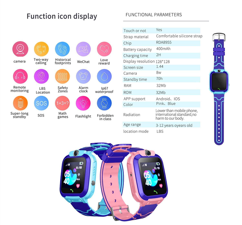 Smartwatch Niños, Reloj Inteligente Niña IP67, LBS, Hacer Llamada, Chat de Voz, SOS, Modo de Clase, Cmara, Juegos… 5