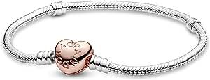Pandora 580719, braccialetto da donna con chiusura a forma di cuore, di colore rosa