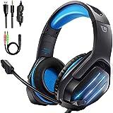 Gootoop Auriculares Gaming, Cascos Gaming PS4, 3D Sonido con Micrófono para PS4 PC Xbox One, Cascos Gaming con Luz LED y Cont