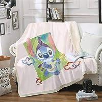 Goplnma Couverture Disney Stitch Lilo et Stitch en flanelle pour enfants et adultes, couverture de jour, couverture de…