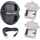 Newmowa Ersatz Akku DMW-BLF19 (2er Pack) und Tragbar Micro USB Ladegerät Kit für Panasonic DMW-BLF19 Panasonic DMW-BLF19E Panasonic Lumix DMC-GH3 DMC-GH3A DMC-GH3H DMC-GH4 DMC-GH4H DC-GH5 DC-GH5S