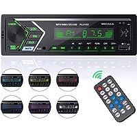 Autoradio Bluetooth,4x60W Radio Voiture,1Din Radio de Voiture,7 Couleurs FM Stéréo Radio Poste Radio Voiture Support FM…