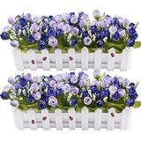Plantas de flores artificiales - Rosas y capullos de rosa en maceta cerca de piquete para decoración de interiores de boda de