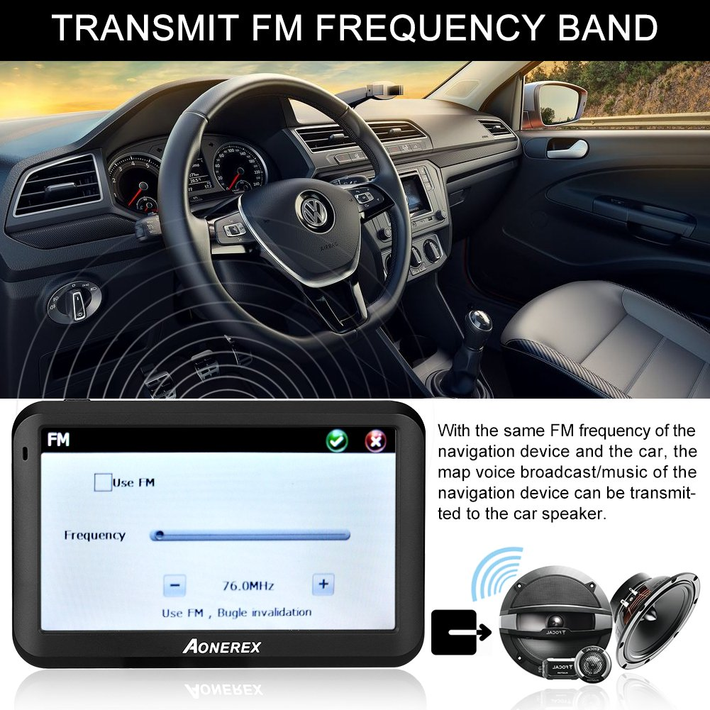 AONEREX Sat Nav GPS Navigation System, 5-Inch HD Touch Screen&Built-in  8GM-128MB Navigator System for car Navigation with UK&EU Latest 2018 Maps