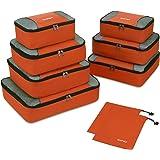 Packing Cubes 9-teilig, 2 zusätzliche Beutel, kleine, mittelgroße, große und 1 größere Kleidertasche, orange