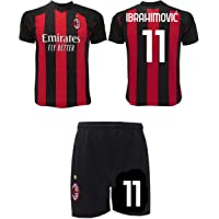 Completo Ibrahimovic Milan 2021 Zlatan Ufficiale 2020-2021 Numero 11 Maglia + Pantaloncini