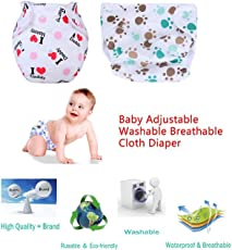 Wishkey Adjustable Reusable Diapers Pants For New Born Baby Pack of 2 | Washable Cloth Diaper For Babies With 1 Absorbent Wet Free Insert |All in one Small,Medium, Large,XL Size Diaper Nappy Pants Type For 0-2 years Kids