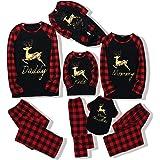 Hinzonek Navidad Familia Conjunto de Ropa a Juego Mascota Bebé Niño Hombres Mujeres Reno Cuadros Pijamas de Navidad Camisón C
