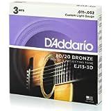 D'Addario EJ13-3D 80/20 Custom Light 11-52 Bronze Acoustic Guitar Strings