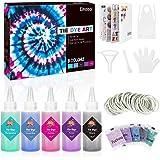 Emooqi Tie Dye Kit, 5 Farben Textil Farbstoff Set mit Quetschflaschen, Gummibänder & Handschuhe usw, DIY Vibrant Batikfarben
