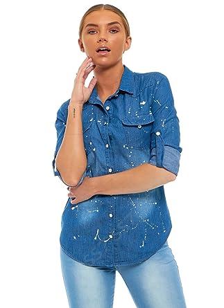 6dd63df914f SS7 New Women's Denim Paint Shirt, Size 8 - 14: Amazon.co.uk: Clothing