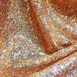 LushFabric 3mm Glitter Pailletten fabricwi Material, 2Wege Stretch/Hochzeit, Kleid, Hintergrund/Sparkling irisierend gold hologramm Pailletten (130cm breit, Meterware)