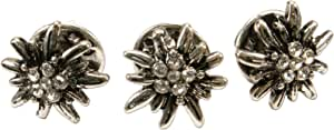 Alpenflüstern API110 - Set di 3 mini spille a forma di stella alpina, colore argento anticato