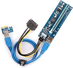RADA PCIe VER 006C 6 PIN 16x to 1x Powered Riser Adapter Card w/ 60cm USB 3.0 Extension Cable & 6-Pin PCI-E to SATA Power Cable - GPU Riser Adapter - Ethereum Mining ETH