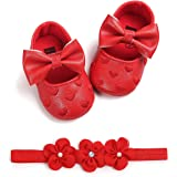 Babywearoutlet Newborn Baby Girl's Pre-Walker Shoes Heart Embroidery Bow Decor Baby Soft-Soled Anti-Slip Shoes With Hair Band