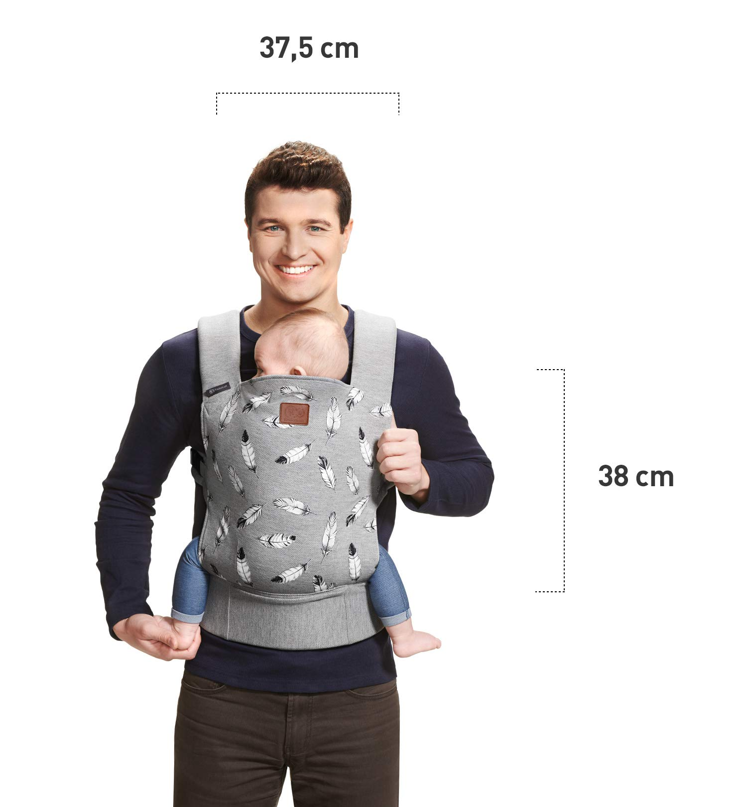 kk Kinderkraft Milo Ergonomic Baby Carrier Front Gray kk KinderKraft Ergonomic baby carrier for children aged from 3 months up to 20 kg Two baby carrying positions: on the stomach and on the back Rubber bands so that the belt ends do not hang 7