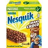 Nesquik Cereali Maxi Choco Barrette di Cereali al Cioccolato e al Latte, 6 x 25g