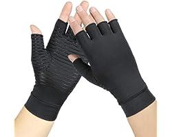 Copper Arthritis Compression Gloves Copper Fingerless Arthritis Gloves for Women & Men,High Copper Content Alleviate Rheumato