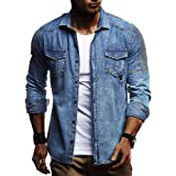 WJFGGXHK Men Solid Color Shirt Pleated Shoulder Cowboy Tees Tops Men's Slim Long Sleeve Denim Shirt Chest pocket Solid Shirt