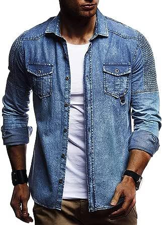 WJFGGXHK Men Solid Color Shirt Pleated Shoulder Cowboy Tees Tops Men's Slim Long Sleeve Denim Shirt Chest pocket Solid Shirt blue Gents Tops leisure travel dating