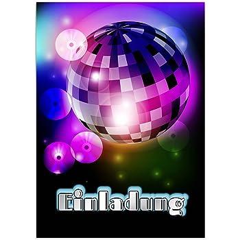 16 Einladungskarten Kindergeburtstag   Motiv Disko Party   Für Jungen Und  Mädchen / Geburtstagseinladungen Im Set