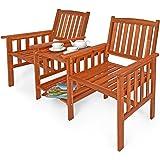 Deuba Banc de Jardin 2 Places Bois d'acacia extérieur avec Table Support et accoudoirs Fauteuil Jardin Balcon