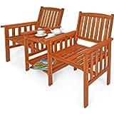Deuba Garden Love Seat Acacia Wood Table and Chairs Companion Bench