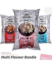 Mr. Makhana Roasted Makhana - 3x80gm Multi Flavour Bundle- Butter Tomato, Himalyan Salt & Pepper, Cream & Onion