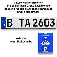 TA TradeArea 1 DIN-zertifiziertes Kfz-Kennzeichen in der Standard-Größe 520x110 mm inklusive Parkscheibe passend für…