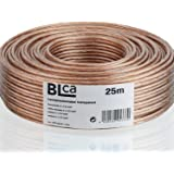 BLca 25 m 2 x 2,5 mm² luidsprekerkabel CCA I luidsprekerkabel geïsoleerd transparant met polariteitsmarkering I LS-kabel per