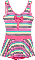 CAMEY Girls Printed One-Piece Swimsuit Ruffle Skirt Swimwear Bathing Suit Cloth with Padded (SCG-03_Pink)