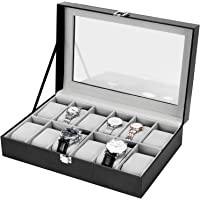 Nisear Boîte à montres, 12 Compartiments Coffret à Montres en Cuir PU Présentoir à Montres Bijoux Coffret de Rangement…